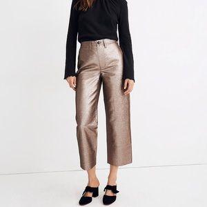 Madewell Slim Emmett Wide-Leg Crop Pants Metallic